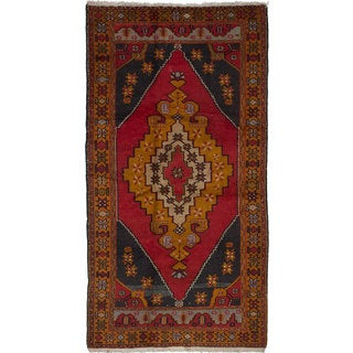 eCarpetGallery Hand-Knotted Anadol Vintage Red Wool Rug (4'5 x 8'5)