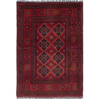 eCarpetGallery Hand-Knotted  Finest Khal Mohammadi Red  Wool Rug (3'4 x 4'9)