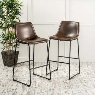 Cedric 30-inch Faux Leather Barstool (Set of 2) by Christopher Knight Home (As Is Item)