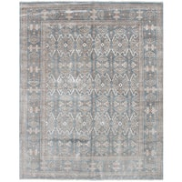 eCarpetGallery Hand-Knotted Jules Ushak Blue  Bamboo Silk Rug (7'10 x 9'10)