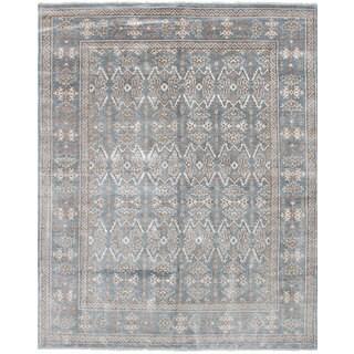 eCarpetGallery Hand-Knotted Jules Ushak Blue Bamboo Silk Rug (7'10 x 9'10)