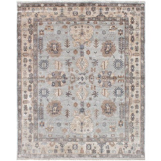 eCarpetGallery Hand-Knotted Jules Ushak Blue Bamboo Silk Rug (7'10 x 9'9)