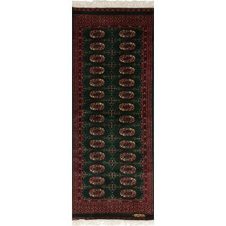 eCarpetGallery Hand-Knotted Finest Peshawar Bokhara Green  Wool Rug (2'1 x 5'10)