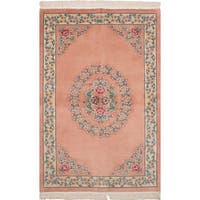 eCarpetGallery Hand-Knotted Aubousson Brown  Wool Rug (5'0 x 8'0)