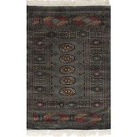 eCarpetGallery Hand-Knotted Finest Peshawar Bokhara Grey  Wool Rug (2'7 x 3'11)