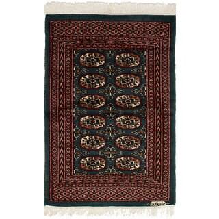 eCarpetGallery Hand-Knotted Finest Peshawar Bokhara Green Wool Rug (2'1 x 3'2)