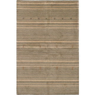 eCarpetGallery Hand-Knotted Luribaft Gabbeh Riz Brown, Grey Wool Rug (5'4 x 8'1)