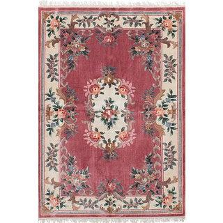 eCarpetGallery Hand-Knotted Aubousson Harrir Pink Art Silk Rug (4'0 x 6'0)