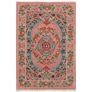 eCarpetGallery Hand-Knotted Aubousson Harrir Pink Art Silk Rug (4'0 x 6'1)