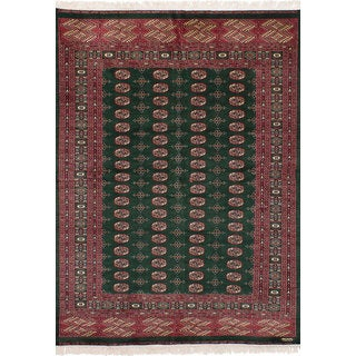eCarpetGallery Hand-Knotted Peshawar Bokhara Green Wool Rug (6'3 x 8'11)
