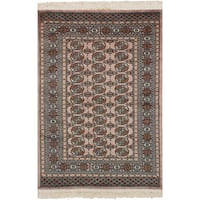 eCarpetGallery Hand-Knotted Peshawar Bokhara Brown  Wool Rug (4'2 x 6'4)