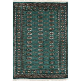 eCarpetGallery Hand-Knotted Peshawar Bokhara Green Wool Rug (4'2 x 6'0)