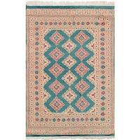eCarpetGallery Hand-Knotted Peshawar Bokhara Green  Wool Rug (4'0 x 6'0)