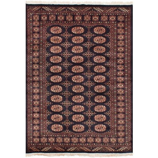 eCarpetGallery Hand-Knotted Peshawar Bokhara Blue  Wool Rug (4'2 x 6'1)