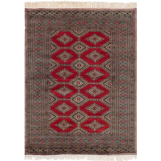 eCarpetGallery Hand-Knotted Peshawar Bokhara Red Wool Rug (4'2 x 5'9)