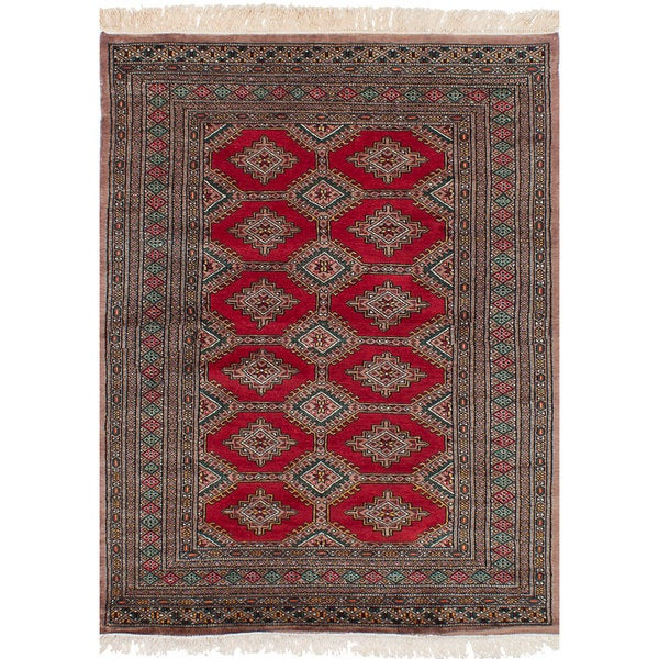 eCarpetGallery Hand-Knotted Peshawar Bokhara Red Wool Rug (4'2 x 5'9)