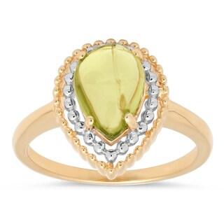 Marabela Sterling Silver Two Tone Peridot and Diamond Ring