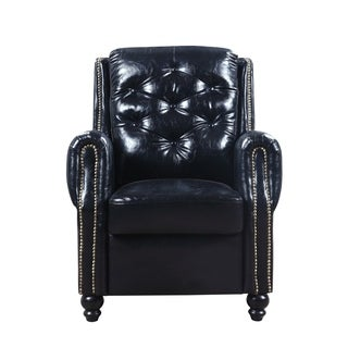 Classic Chesterfield Faux Leather Armchair Accent Chair, Tufted Scroll Arm