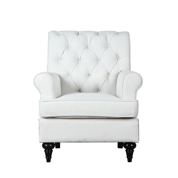 Modern Chesterfield Linen Accent Arm Chair, Tufted Living Room Armchair