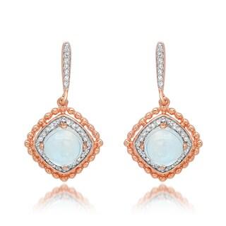 Marabela Sterling Silver Rose Plated Blue Topaz Dangling Earrings