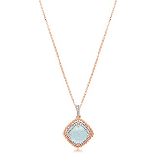 Marabela Sterling Silver Rose Plated Cabochon Blue Topaz Pendant - Baby Blue