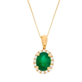 18K Yellow Gold Emerald and Diamond Pendant by Anika And August - White