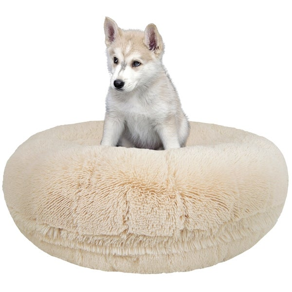 Bessie And Barnie Signature Blon Luxury Extra Plush Faux Fur Bagel Pet Dog Bed