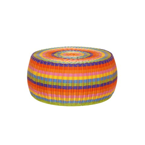 Colorful Indoor Outdoor Resin Wicker Low Barrel Basket Side Table/Ottoman