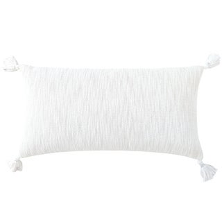 Cotton Textured Throw Pillow with Tassels