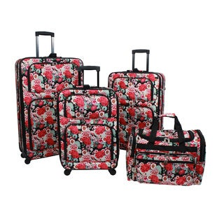 World Traveler Floral 4-piece Rolling Expandable Spinner Luggage Set