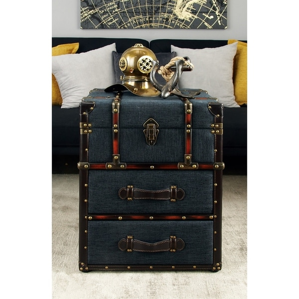 Traditional 22 Inch 2-Drawer Fabric Luggage End Table by Studio 350