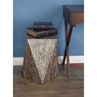 Contemporary 19 x 17 Inch Brown Geometric Accent Table by Studio 350