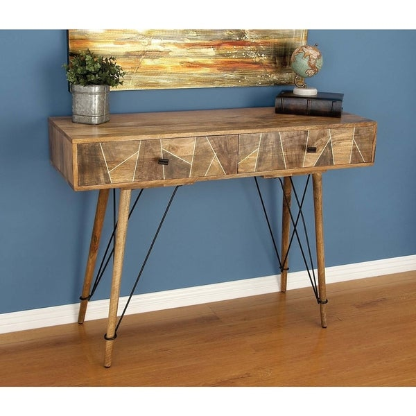 Studio 350 Brown Wood/Metal 47 Inch Wide X 34 Inch High Console Table    Free Shipping Today   Overstock.com   23844341