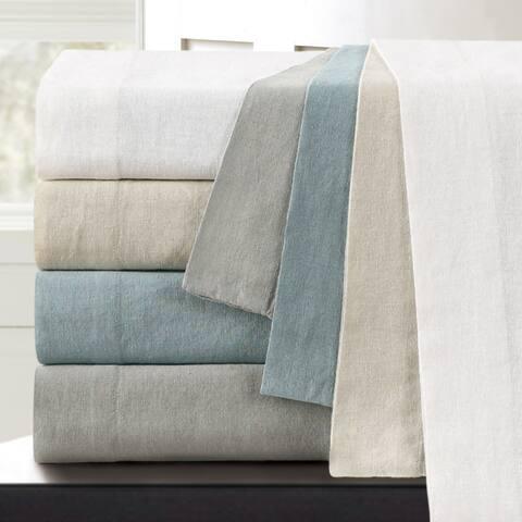 Washed Linen Cotton Blend Bed Sheet Set