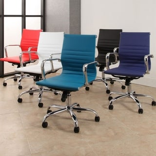 Samuel Silver Finish Adjustable Leather Office Chair by Abbyson