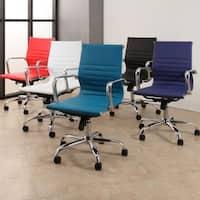 Abbyson Samuel Silver Finish Leather Office Chair