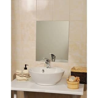 Evideco Bath Wall Adhesive Large Rectangular Mirror 15.7Wx 20L|https://ak1.ostkcdn.com/images/products/17629733/P23844382.jpg?impolicy=medium