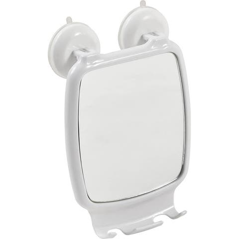 Evideco Shower Shaving Mirror with 2 Razor Holders-Suction Cups White