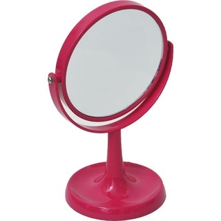 Magnifying Dual-Sided Vanity Mirror Countertop -Jewelry Organizer Pink