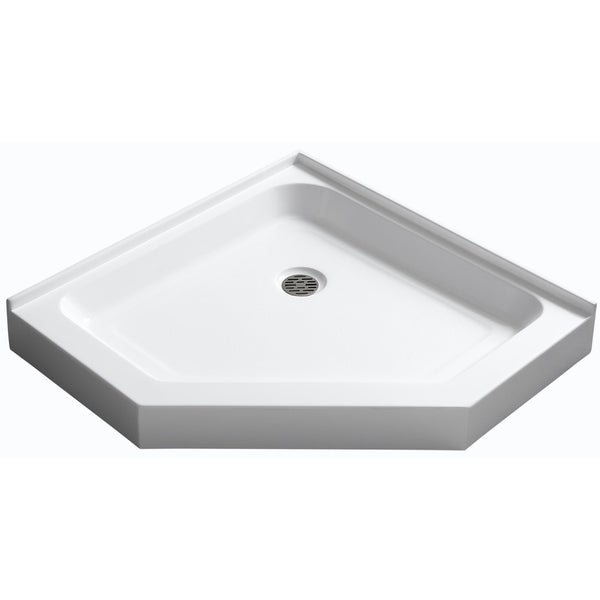 Neo Angle Double Threshold Shower Base In White