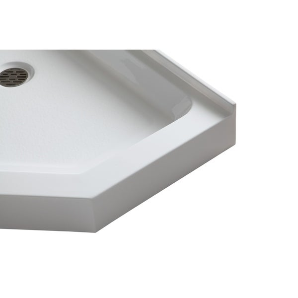 Neo Angle Double Threshold Shower Base In White   Free Shipping Today    Overstock.com   23844707