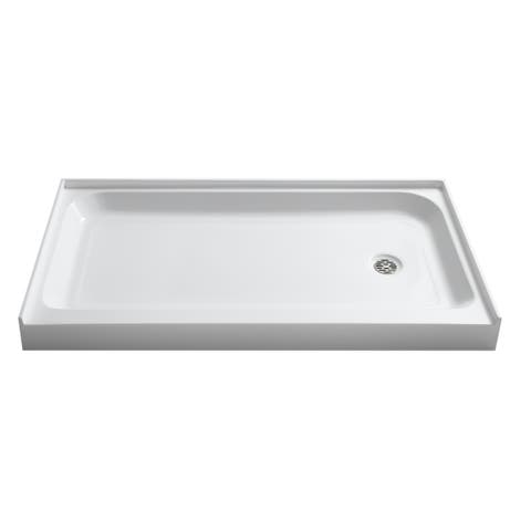 Tier 36 x 60 in. Right Drain Single Threshold Shower Base in White