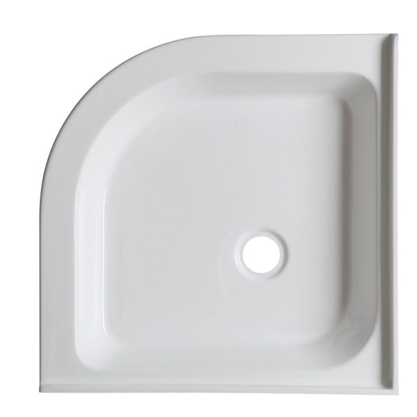 Neo Round Double Threshold Shower Base In White   Free Shipping Today    Overstock.com   23844710