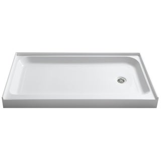 Tier 32 x 60 in. Right Drain Single Threshold Shower Base in White