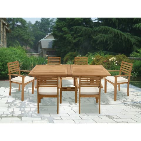 Traditional 7-Piece Teak Wood Dining Set by Studio 350