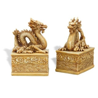 Dragon Ivory Bookends - set of 2