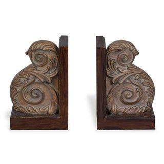 Kristina Brown Wood Bookends (Set of 2)