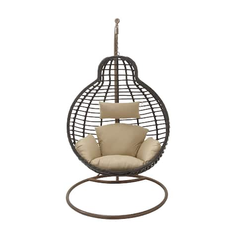 Modern 76 x 42 Inch Brown Suspended Wicker Pod Chair by Studio 350