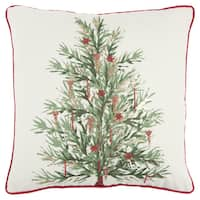 Rizzy Home 20 X 20  inch  Christmas  White/Green Christmas Tree Decorative Throw Pillow