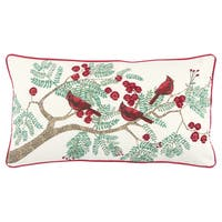 Rizzy Home 14 X 26  inch  Christmas  White/Green / Red Cardinals  Decorative Throw Pillow